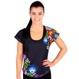 Folk fitness - damski luźny t-shirt - łowickie wzory ludowe - czarny