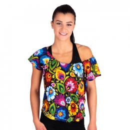 Folk fitness - damski luźny t-shirt - łowickie wzory ludowe - czarny w kwiaty