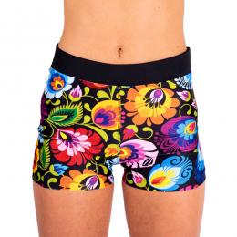 Folk fitness - damskie krótkie legginsy sportowe - łowickie wzory ludowe - w kwiaty