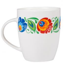 FOLK kubek Marysia - ludowe kwiaty łowickie | biały