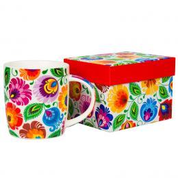 FOLK kubek w pudełku Hania – ludowe kwiaty z łowickiej wycinanki – biały