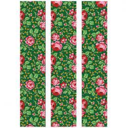 Fototapeta FOLK góralska zielona 150x250cm - średnie kwiaty