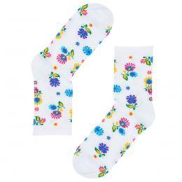 FOLK skarpety damskie całe w łowickie kwiatki - długa cholewka - białe