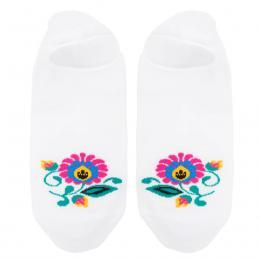 FOLK skarpety damskie w kwiaty - stopki - białe