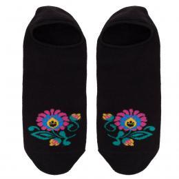 FOLK skarpety damskie w kwiaty - stopki - czarne