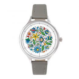 FOLK zegarek damski na skórzanym pasku - wzór kaszubski