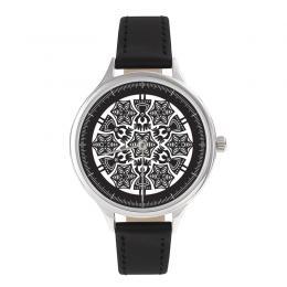 FOLK zegarek damski na skórzanym pasku - wzór kurpiowski