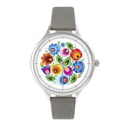 FOLK zegarek damski na skórzanym pasku - wzór łowicki biały