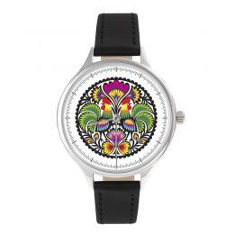 FOLK zegarek damski na skórzanym pasku - wzór łowicki KOGUTY