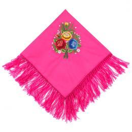 Haftowana chusta bawełniana do łowickiego stroju ludowego - różowa