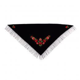 Duża haftowana chusta z czerwonymi różami łowickimi