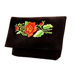 Haftowana czarna kopertówka folk - tradycyjny haft czerwonej róży