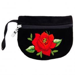 Haftowana portmonetka - czerwona róża
