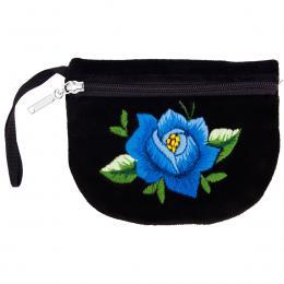 Haftowana portmonetka - niebieska róża