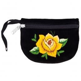 Haftowana portmonetka - żółta róża