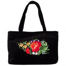 Haftowana torebka na ramię - czerwona róża w bukiecie