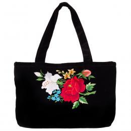 Haftowana torebka na ramię - czerwona róża z białą lilą