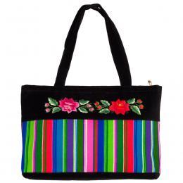 Haftowana torebka na ramię - pasiak różą czerwoną i różową