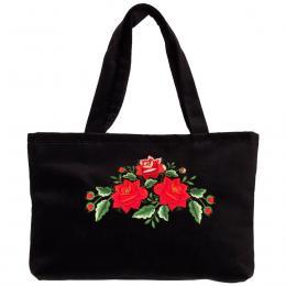 Haftowana torebka na ramię - trzy czerwone róże