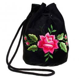Haftowana torebka woreczek z różową różą