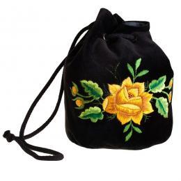Haftowana torebka woreczek z żółtą różą