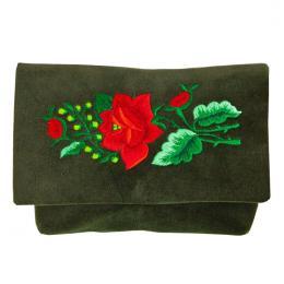 Haftowana zielona kopertówka aksamitna z czerwona różą