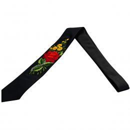 Haftowany krawat z czerwoną różą i żółtymi kwiatami