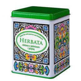 Herbata zielona z jaśminem i jeżyną w puszce - wycinanka koguty