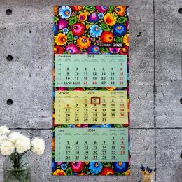 Kalendarz ścienny (trójdzielny) 2020 - łowicki czarny