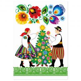 Kartka świąteczna + koperta | FOLK Boże Narodzenie – CHOINKA – kodra łowicka