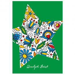 Kartka świąteczna + koperta | FOLK Boże Narodzenie – GWIAZDA KASZUBSKA