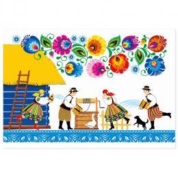 Kartka świąteczna + koperta | FOLK Wielkanoc – ŚMIGUS DYNGUS – kodra łowicka