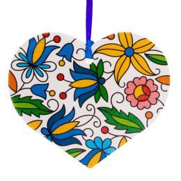 Kolorowa FOLK ozdoba - serce - kaszubska