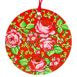 Kolorowa FOLK ozdoba - okrągła - góralska czerwona