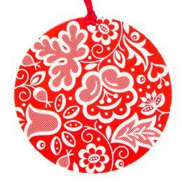 Kolorowa FOLK ozdoba - okrągła - kujawska czerwona