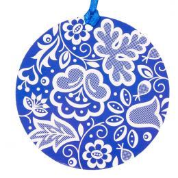 Kolorowa FOLK ozdoba - okrągła - kujawska niebieska