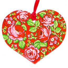 Kolorowa FOLK ozdoba - serce - góralskie czerwone