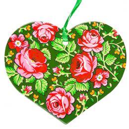 Kolorowa FOLK ozdoba - serce - góralskie zielone