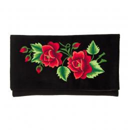 Kopertówka do ręki czarna z haftem łowickim czerwonych róż