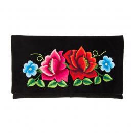 Kopertówka do ręki z haftowaną czerwoną i różową różą