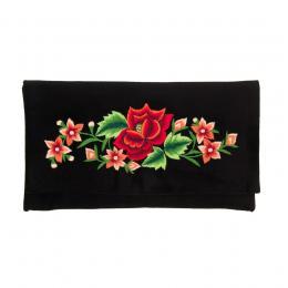 Kopertówka do ręki z haftowaną czerwoną różą i kwiatkami