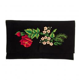 Kopertówka do ręki z haftowaną czerwoną różą i małymi kwiatuszkami