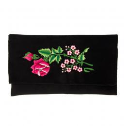 Kopertówka do ręki z haftowaną różową różyczką i małymi kwiatkami