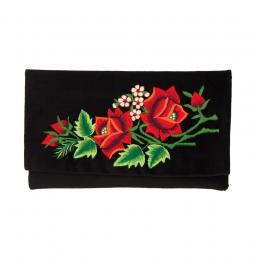 Kopertówka do ręki z haftowanymi czerwonymi różami i małymi kwiatkami