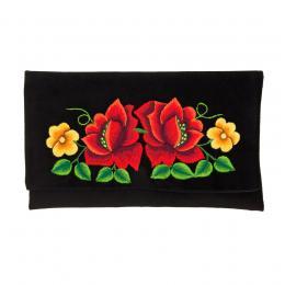 Kopertówka do ręki z haftowanymi czerwonymi różami i żółtymi kwiatkami