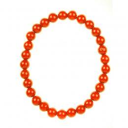 Tradycyjne korale drewniane - równe pomarańczowe