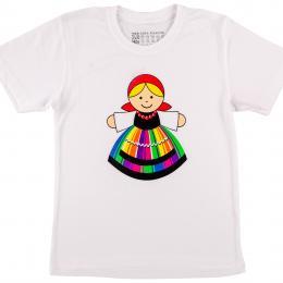 Koszulka dziecięca FOLK biała - łowiczanka
