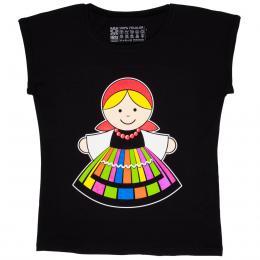 Koszulka damska czarna - łowiczanka