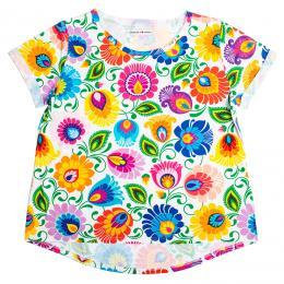 Koszulka damska - cała w kwiaty łowicka biała