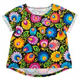 Koszulka damska - cała w kwiaty łowicka czarna